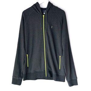 PSYCHO BUNNY. Gray & Neon green zip up hoody